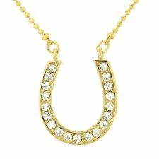 Horseshoe W Swarovski Crystal Luck Gold Tone Gift Pendant Necklace L