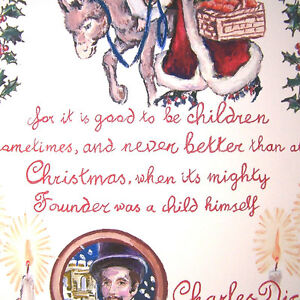 Hand drawn Quote Christmas Carol Art Print Holiday Charles Dickens Vintage style