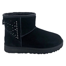 UGG CLASSIC MINI II STUDDED BLACK SUEDE SHEEPSKIN WOMEN'S BOOTS SIZE 9
