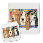 Basset Hound Kitchen Dish Towel and Pot Holder Gift Set