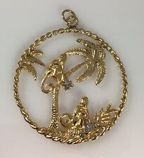 "Vintage ""Monkeys in Palm Trees"" Solid 14kt Gold & Old Mine Diamond Pendant"
