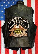 Rare VTG Harley-Davidson HD Motorcycle Leather Vest RGC Pins Colors MC Club Bike