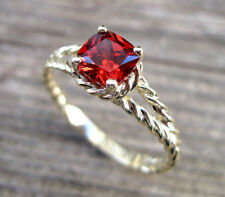 Cushion Cut 1.5 CT Split Shank 14k White Gold Over Red Ruby Engagement Ring