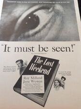 N1-6 Ephemera 1940s Ww2 Advert Film The Lost Weekend Ray Milland Jane Wyman