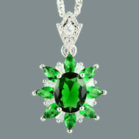 Oval Green Emerald 18K White Gold Plated Flower Pendant Necklace Curb Chain