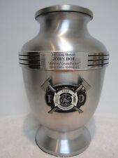 833 Firefighter Firemen Funeral Memorial Cremation Urn black medal - free plate