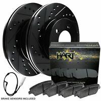 2 FRONT + 2 REAR Black Hart *DRILLED /& SLOTTED* Disc Brake Rotors C1048