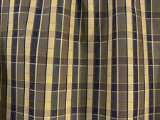 "Drapery Upholstery Fabric Reversible Yarn Dyed Faux Silk Plaid 60"" W - Navy"
