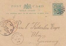 GOLD COAST :1892 ONE HALFPENNY  postal stationery card  used to Germany-PACKET