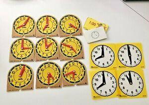 JUDY INSTRUCTO Set 9 ORIGINAL MINI-CLOCKS 🕰 Wood & 4 Plastic learning resources