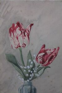 Pretty Vintage French Signed Tulips in Vase Watercolour 1930's/40s