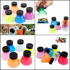 6 Pack Soda Can Savers Reusable Pop Drink Covers Lid Protector Spill Bottle