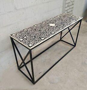 FLORAL BONE INLAY HALLWAY CONSOLE TABLE