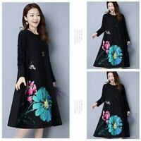 UK Womens Floral Long Tops Blouse Ladies Summer Beach Black Shirt Dress