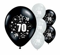 """10 x 70TH BIRTHDAY BLACK AND SILVER 11"""" HELIUM OR AIRFILL BALLOONS (PA)"""