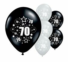 """30 x 70TH Compleanno Nero E Argento 11"""" Palloncini Elio O Airfill (PA)"""