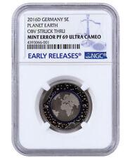 MEGA-RARE COIN w/MINT ERROR!! Germany 5 Euro Blue Planet Earth Blauer Erde PF69