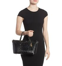 ❤️BRAHMIN MINI ASHER BLACK TASSEL TOTE CROSSBODY CROC EMB LEATHER EVENING BAG❤️