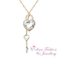 18K Gold Plated Made With Genuine Swarovski Crystal Heart Lock Long Necklace