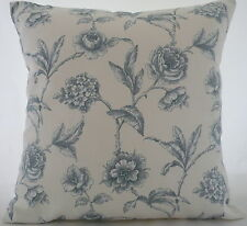 """Cushion cover made  in Marson Milton blue flowers fabric 17"""" / 43cm square"""