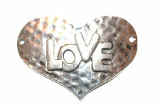 5pc Large Love Silver Heart Connector Charm 1-3 day Shipping