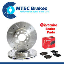 BMW E46 320td 09/01-12/04 Front Drilled & Grooved Brake Discs & Brembo Pads