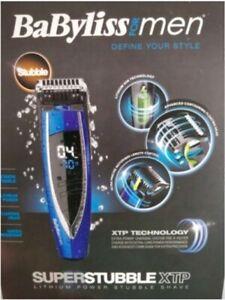 BABYLISS Super Stubble XTP BLUE 7898BU Mens CORDLESS WET/DRY Beard Trimmer NEW