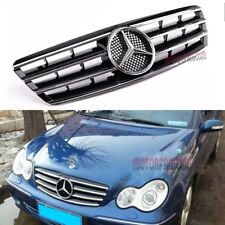 For Mercedes Benz W203 Grill C230 C320 C240 Grille CHROME BLACK 01~07 AMG 4 FINS