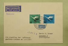 1955 GERMANY FIRST FLIGHT LUFTHANSA HAMBURG TO MUNICH SIEGER #1