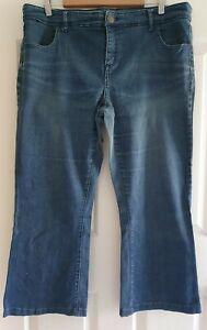 Ladies size 18 blue bootcut stretch denim jeans - Autograph  legs shortened