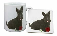 Scottish Terrier with Red Rose Mug+Coaster Christmas/Birthday Gift Id, AD-ST2RMC