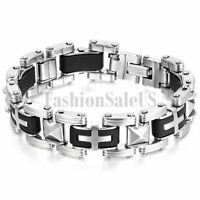 16mm Stainless Steel Rubber Cross Bracelet Men's Stylish Biker Bangle Cuff 8.5""