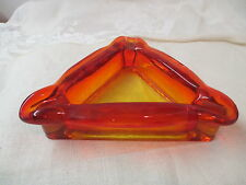 Vintage glass Ashtray hand blown Amberina Triangle