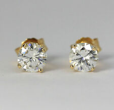 Diamond stud earrings 14K y/gold G color round brilliants .90CT studs NEW w/TAG!