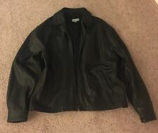 Old Navy Mens Heavy Leather Jacket Size Large Polyester Lining
