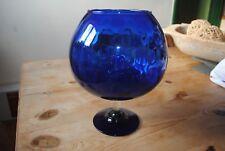Vintage Retro 1960s Large Cobalt Blue Art Glass Brandy Goblet Vase