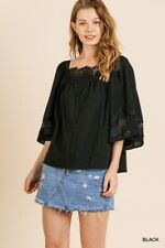 Umgee Black Crochet Lace Detail Square Neck Top