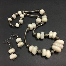 Vintage Tumbled White Marble Stone Necklace & Dangle Earring Set Silver E761i
