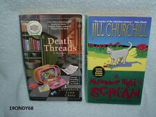 "2 COZY MYSTERY PAPERBACKS-""DEATH THREADS"" AND ""A MIDSUMMER NIGHT'S SCREAM"""