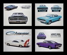 4 DODGE ART PRINTS - 1966 1967 1968 1969 1970 CHARGER: DAYTONA 500 R/T 383 440+6