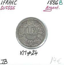 SUISSE - 1 FRANC - 1886 B - Pièce de Monnaie en Argent // Qualité: TB