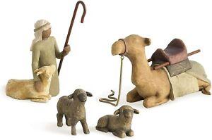 Willow Tree Shepherd & Stable Animals 4 Piece Set Susan Lordi Christmas Nativity