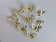 20 - 3D Gold/white Butterflies, Weddings, Parties,Crafts.