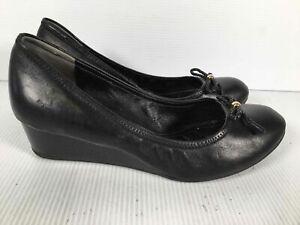 Cole Haan Black Leather Women's Wedge Heel Slip On Bow Ballet Flats Sz 7.5C
