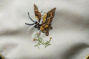 Vintage Napkins set of 6 Silk Embroidered Floss Butterflies