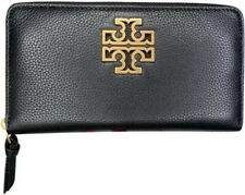 Tory Burch Wallet BRITTEN Zipper Around Continental Pebbled Leather Black Gold