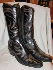 MATISSE BLACK ETCHED LEATHER POINTY TOE INSIDE ZIP WESTERN COWBOY BOOTS~9 M