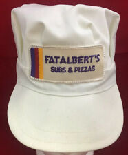 Vintage 1980's Fat Alberts Subs & Pizza's White Size Small Restaurant Hat Cap
