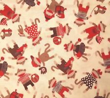 Monkey Around BTY Bethany Shackleford Quilting Treasures Sock Brown Red Cream