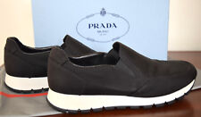 Prada Sport Black Canvas Pull On Sneakers Gripped Rubber Soles Size 38